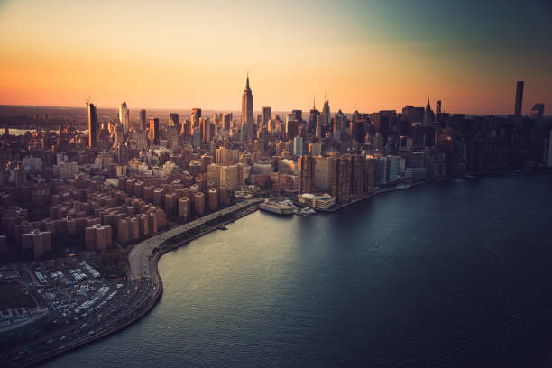 aerial view of manhattan city aerial view of manhattan city new york state stock pictures, royalty-free photos & images