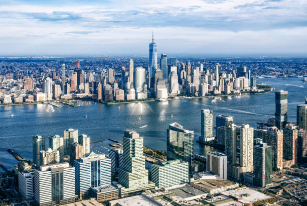 aerial view of Manhattan from Jersry City. New York. USA stock photo