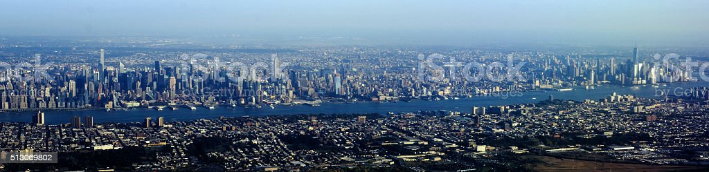Aerial View of Manhattan from New Jersey stock photo