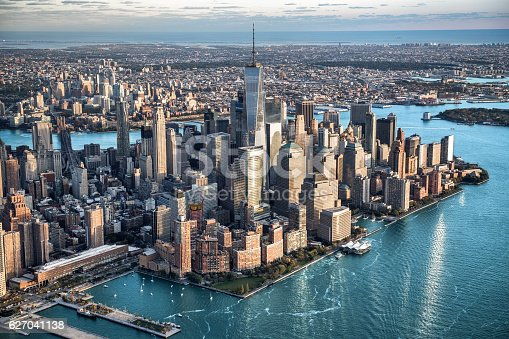 Helicopter point of view of Manhattan island in New York City.