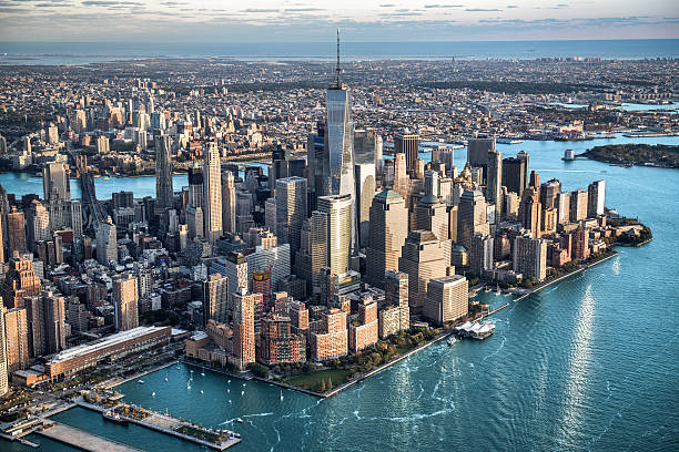 Aerial view of Manhattan in New York Helicopter point of view of Manhattan island in New York City. manhattan financial district stock pictures, royalty-free photos & images