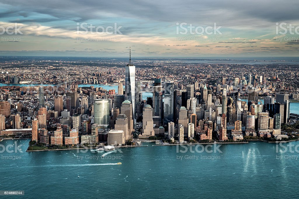 Aerial view of Manhattan island stock photo