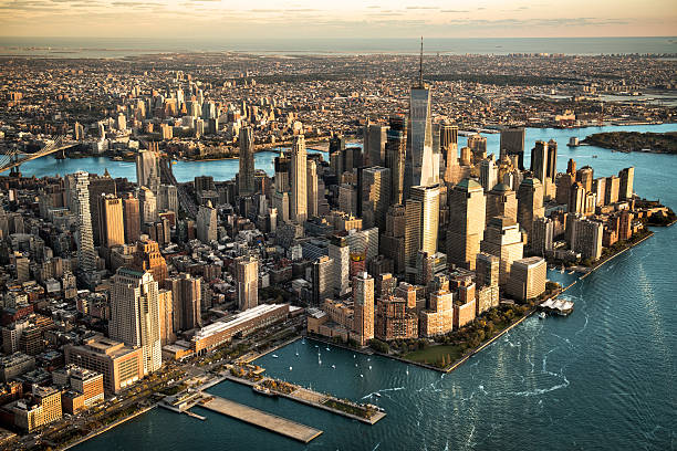 aerial view of manhattan island - north america stock photos and pictures