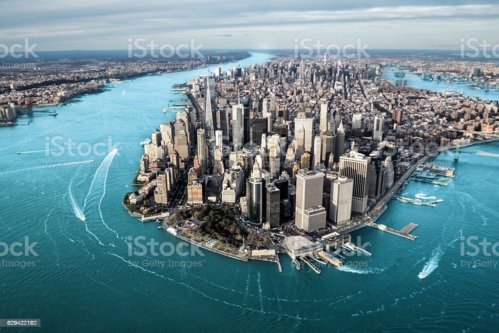 Aerial view of Manhattan island – Foto