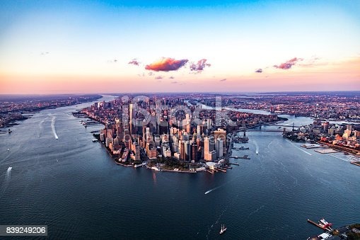 Manhattan's world famous skyline from birds point of view.