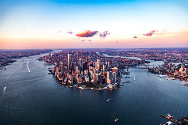 aerial view of manhattan, new york, united states of america - wall street lower manhattan stock pictures, royalty-free photos & images