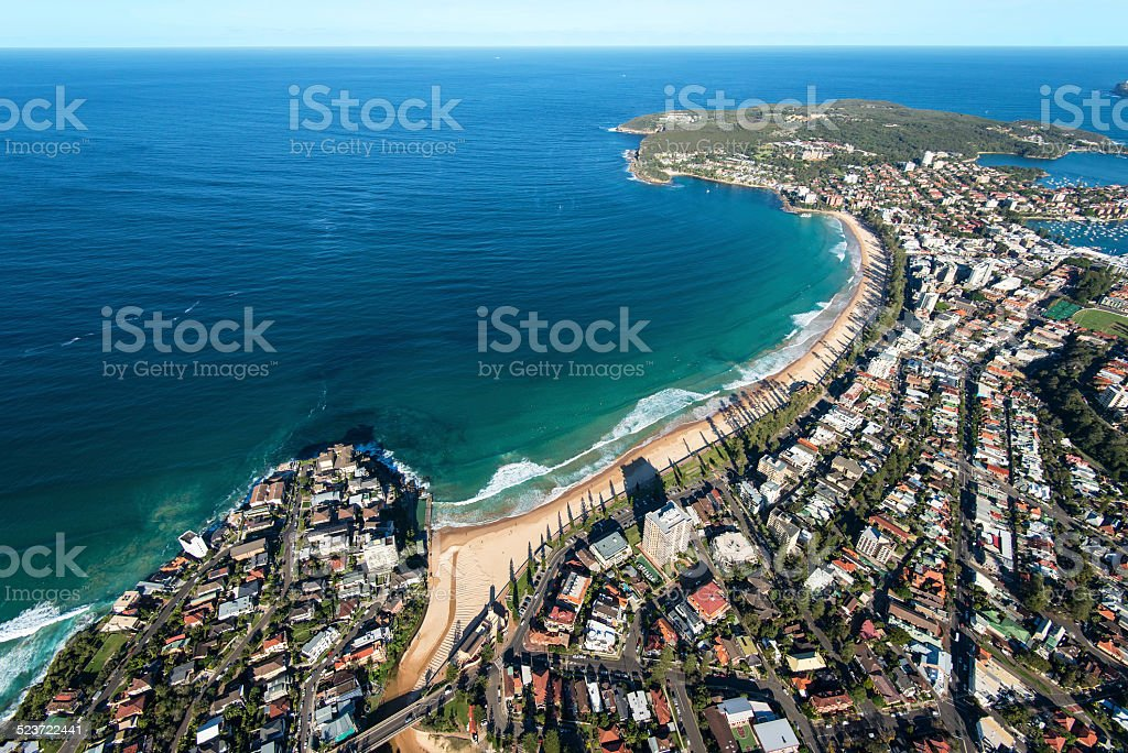 Aerial View of Manly Beach, Australia stock photo