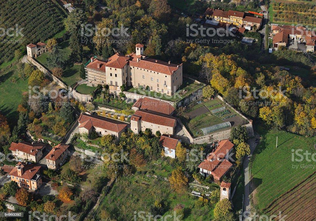 Aerial view of Manta Castle, near Saluzzo, Cuneo, Italy stock photo