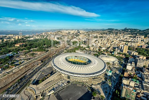 Rio De Janeiro, February - February 11, 2015: Aerial view of a soccer field Maracana Stadium in Rio de Janeiro, Brazil. Stadium will be the venue for the opening and closing ceremonies of the 2016 Summer Olympics in Rio De Janeiro.