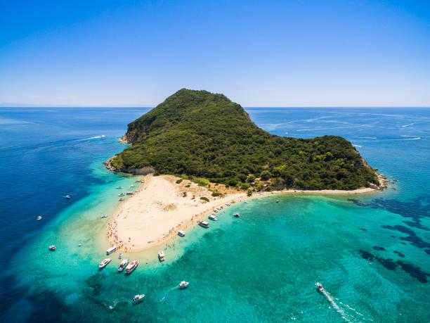 Aerial view of Marathonisi Island in Zakynthos (Zante) island, in Greece stock photo
