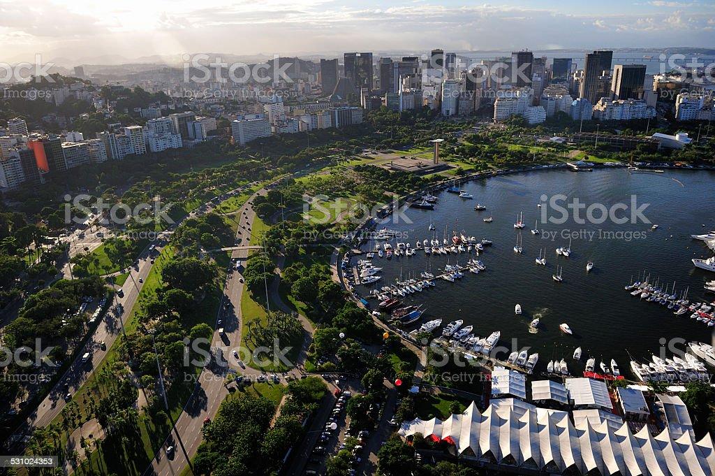 Aerial view of Marina, Flamengo Park, Rio de Janeiro, Brazil stock photo