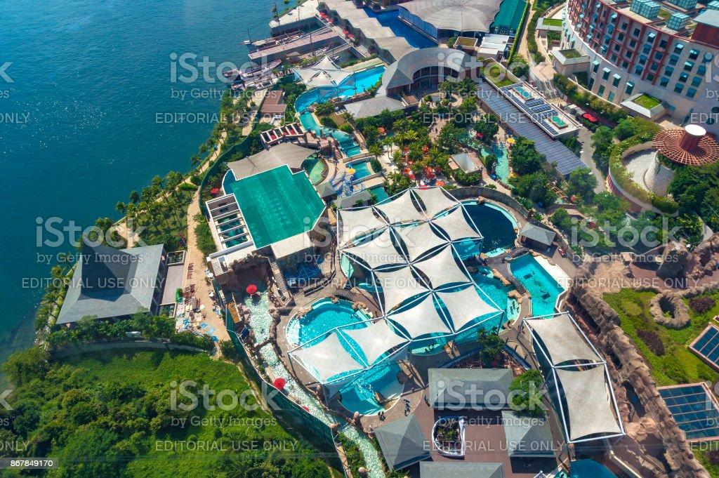Aerial view of Marine Life Park on Sentosa Island stock photo