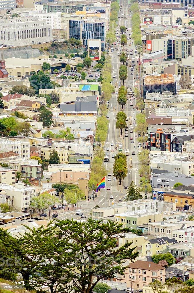 Aerial view of Market Street, Castro, San Francisco stock photo