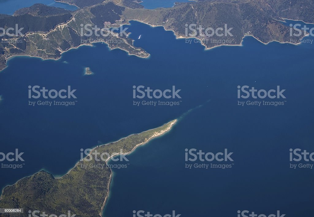 Aerial View of Marlborough Sounds, NZ royalty-free stock photo