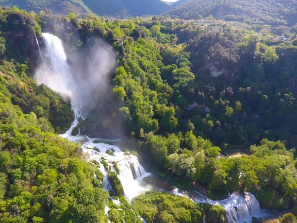 Aerial View of Marmore's Falls in Umbria Aerial View of Marmore's Falls in Umbria, Italy umbria stock pictures, royalty-free photos & images