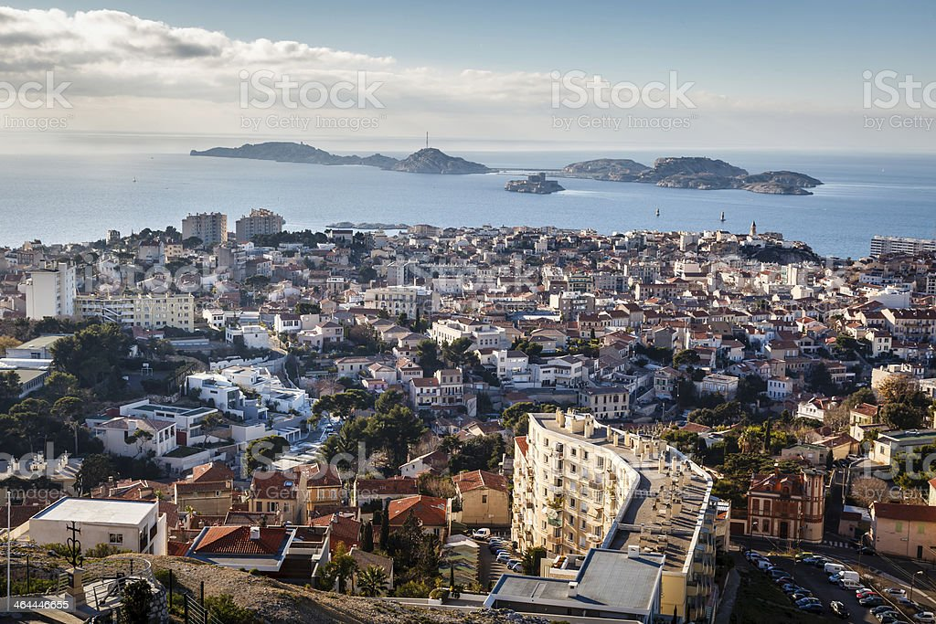 Aerial View of Marseille City and Islands in Background, France royalty-free stock photo