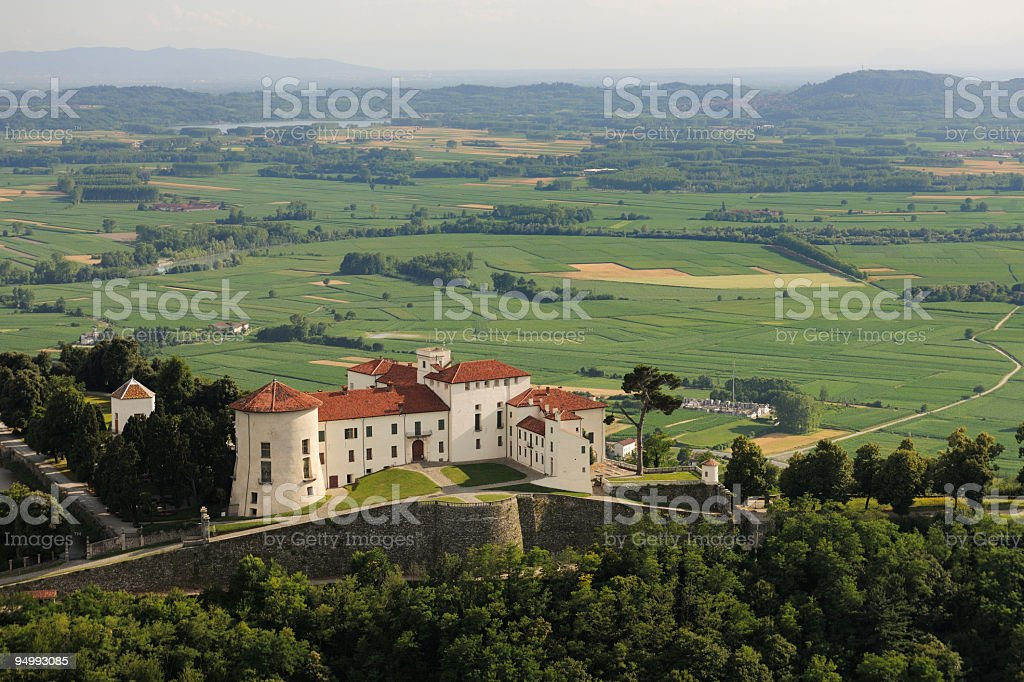 Aerial view of Masino castle and the lowland of Canavese stock photo