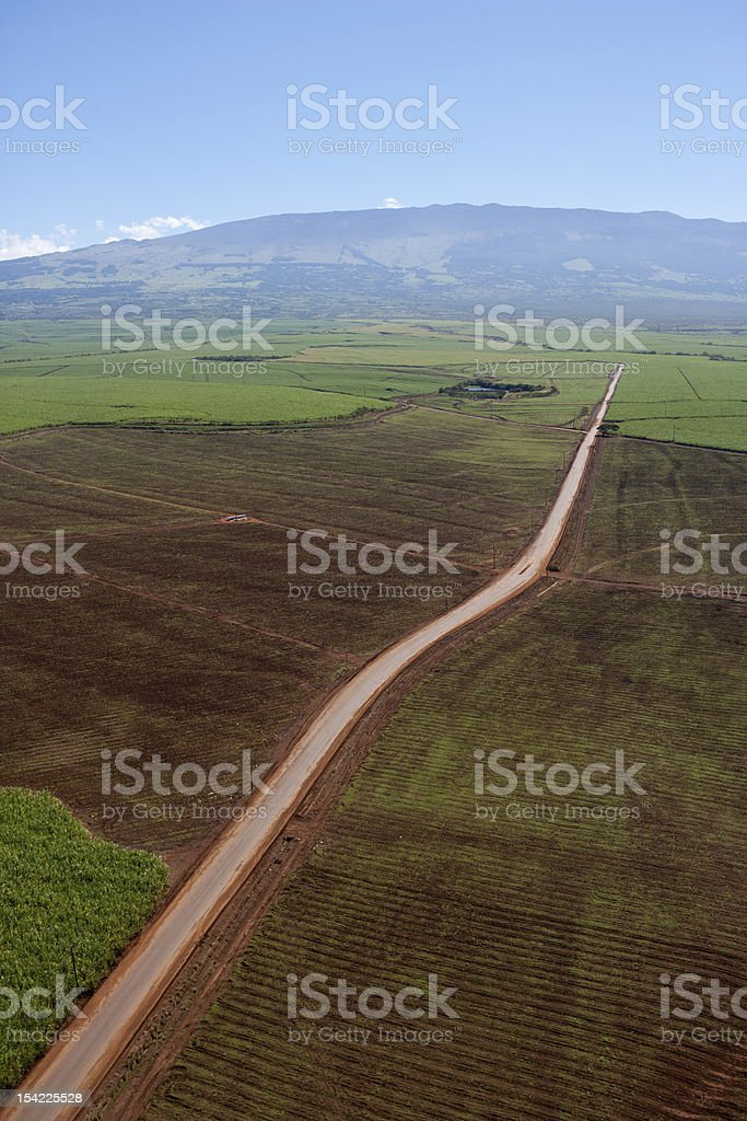 Aerial View of Maui Road to Upcountry royalty-free stock photo