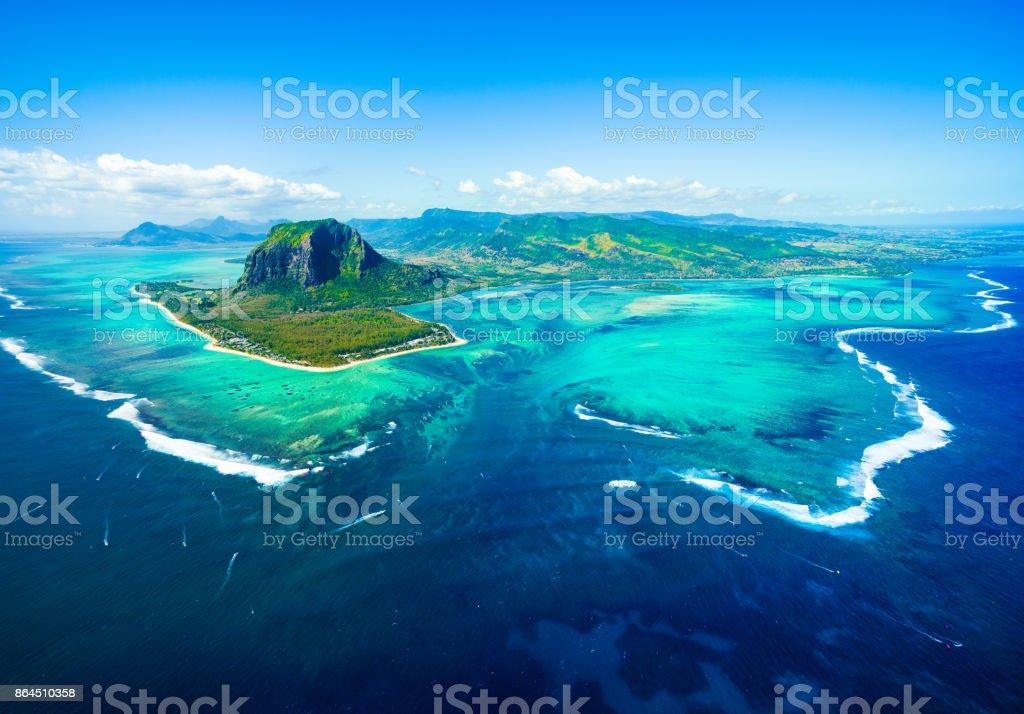 Aerial view of Mauritius island stock photo