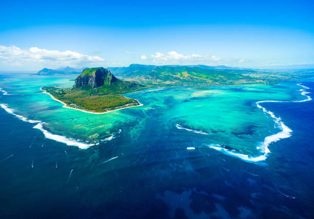 Aerial view of Mauritius island stock photo