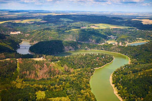 Aerial view of meandering river in Podyji National park in Czech Republic. Aerial view of meandering river in Podyji National park in Czech Republic. moravia stock pictures, royalty-free photos & images