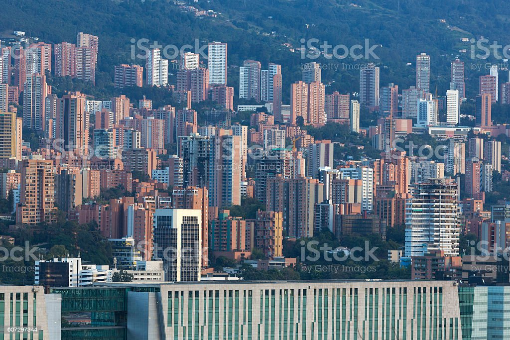 Aerial view of Medellin city within a residential neighborhood, stock photo