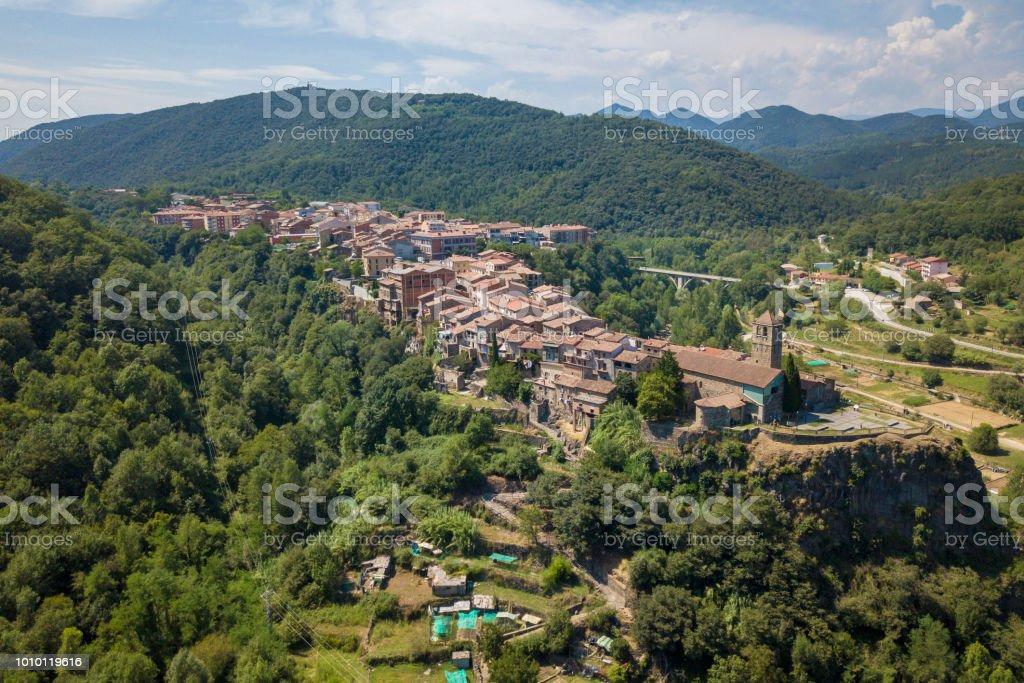 Aerial view of medieval town of Castellfollit de la Roca