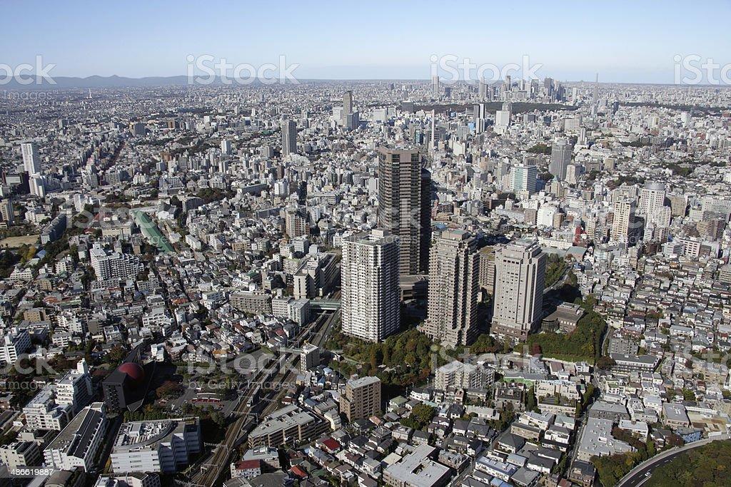 Aerial view of Meguro areas stock photo
