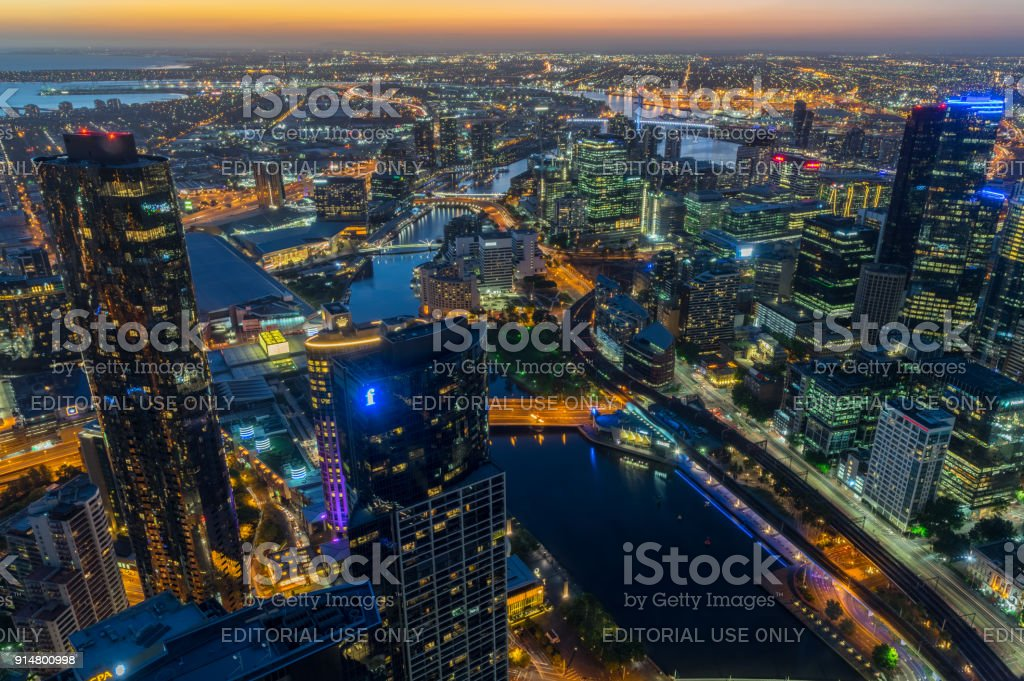 Aerial view of Melbourne along the Yarra River towards Docklands stock photo