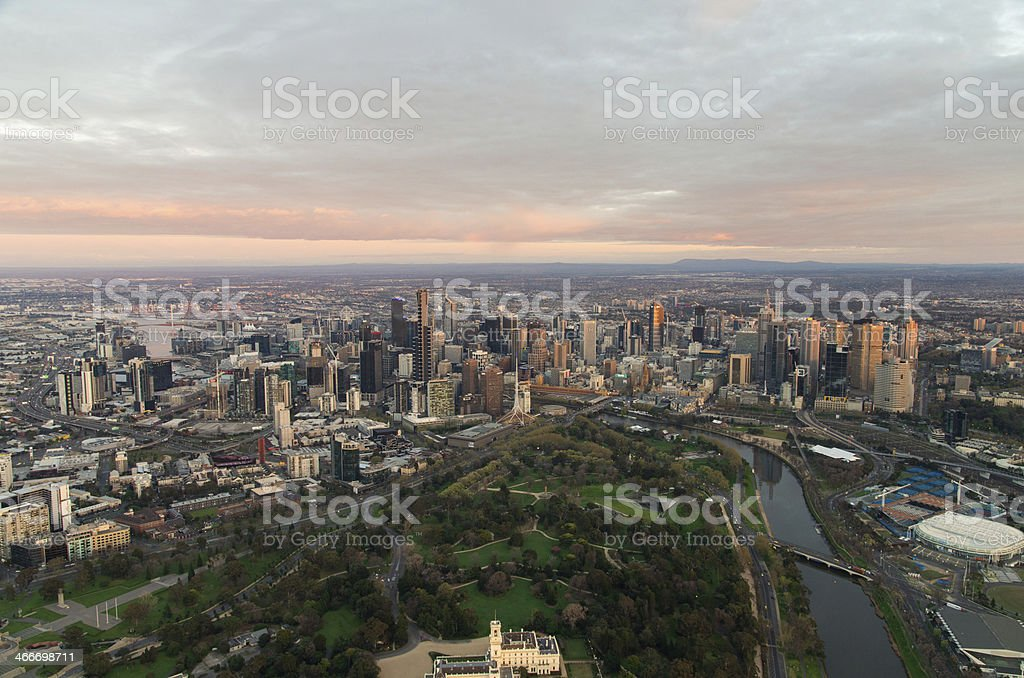 Aerial view of Melbourne and Royal Botanic Garden stock photo