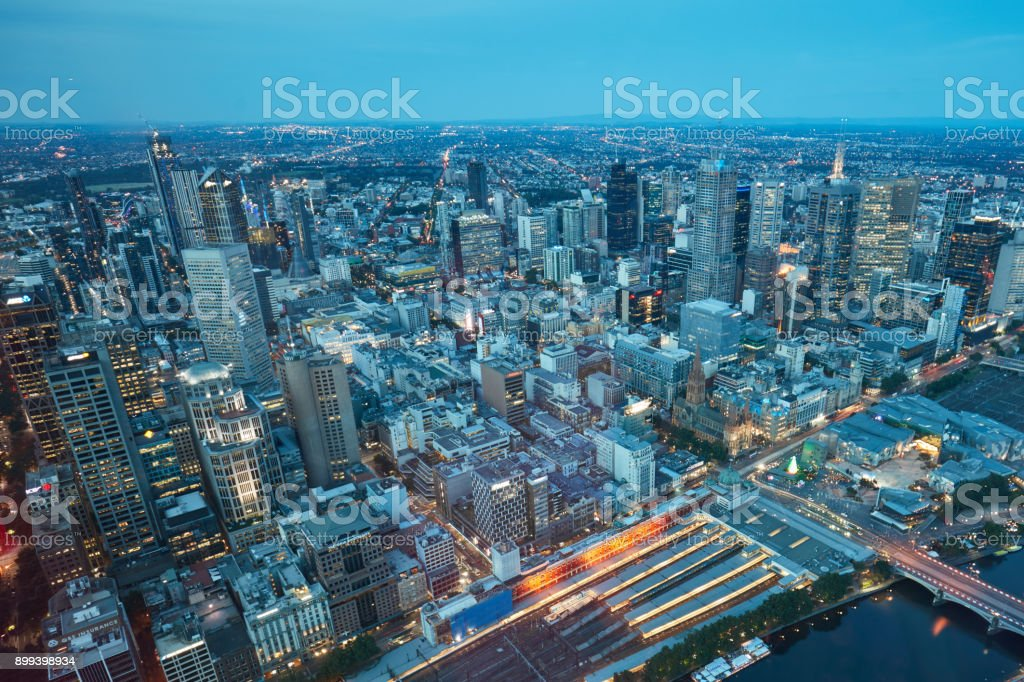 Aerial view of Melbourne at dusk, Australia stock photo