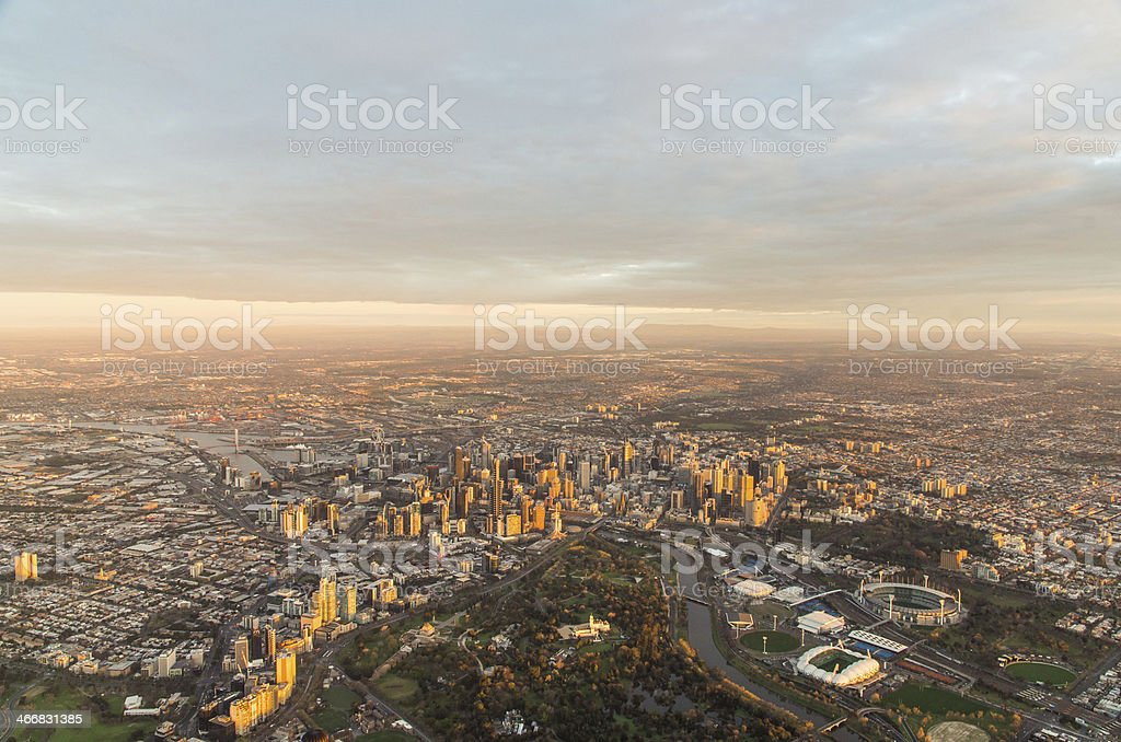 Aerial view of Melbourne CBD stock photo