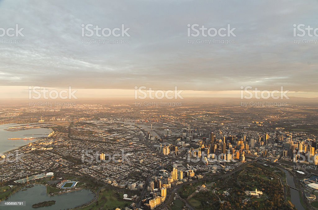 Aerial view of Melbourne downtown at dawn stock photo