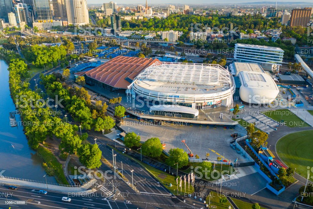Aerial view of Melbourne Park, home of the Australian Open tennis tournament stock photo