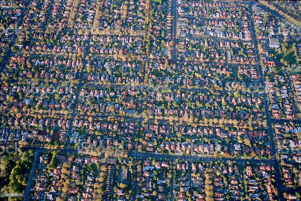 Aerial view of Melbourne suburb stock photo