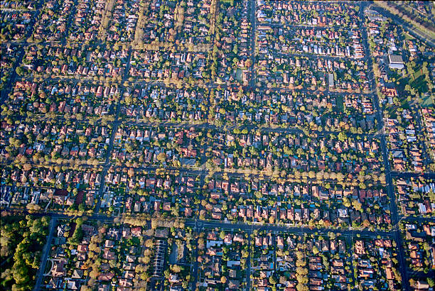 aerial view of melbourne suburb - urban sprawl stock photos and pictures