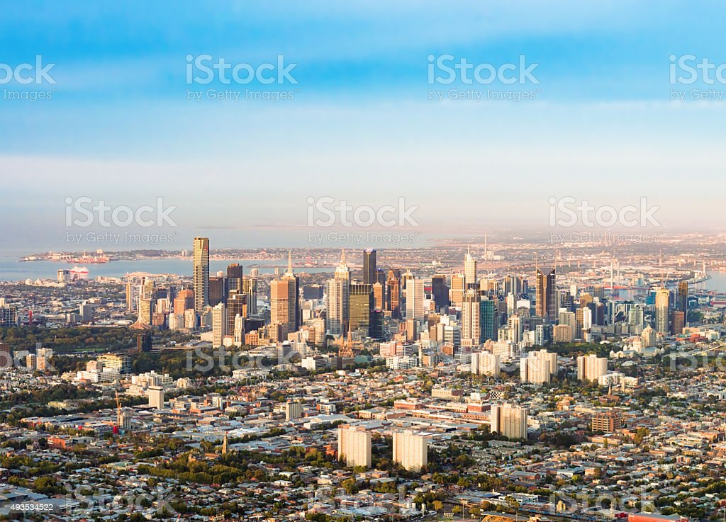 Aerial view of Melbourne's CBD stock photo