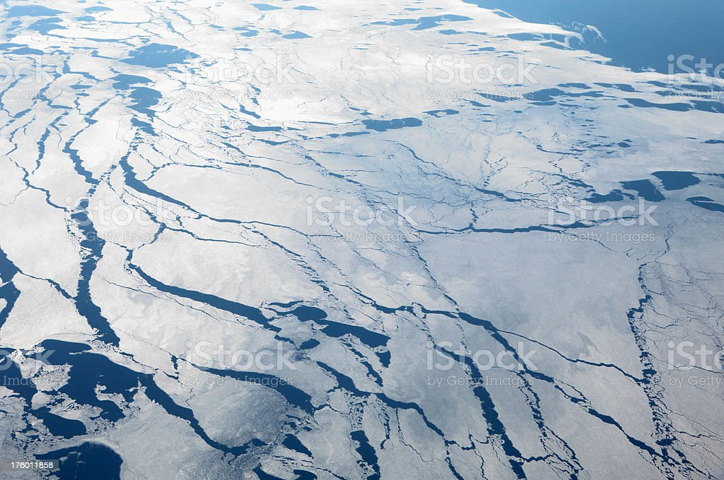 Aerial View of Melting Ice Field stock photo