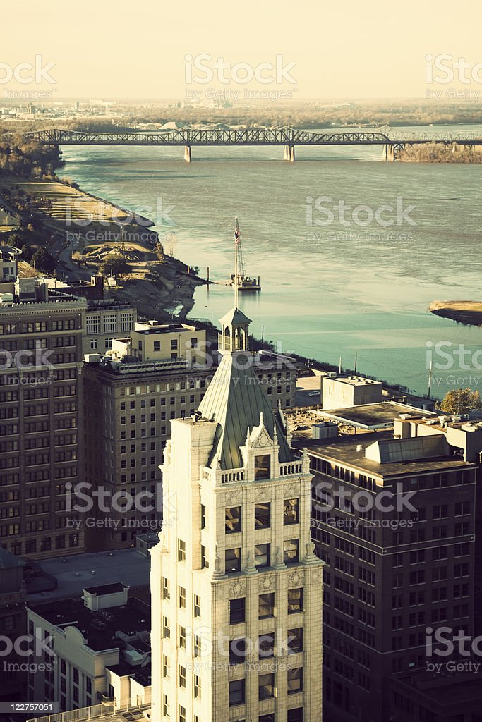 Aerial view of Memphis, Tennessee stock photo