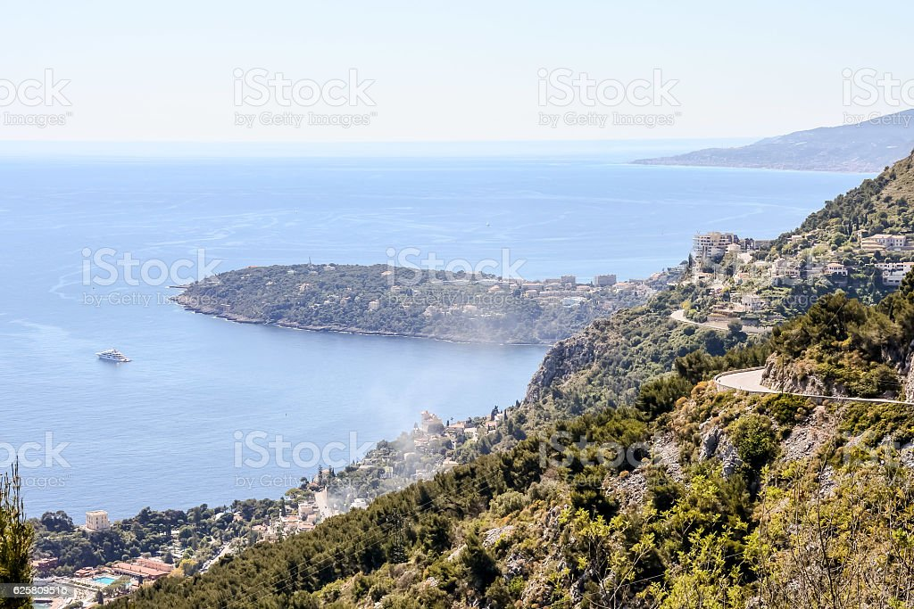 Aerial view of Menton town in French Riviera stock photo
