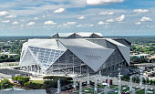 Atlanta, Georgia/ USA - September 8, 2018: Opened in August 2017, Atlanta's iconic Mercedes Benz Stadium can accommodate 71,000 spectators and features a state-of-the-art retractable roof.