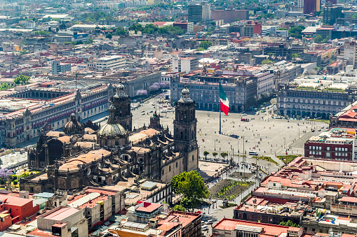 aerial view of mexico city main square and cathedral