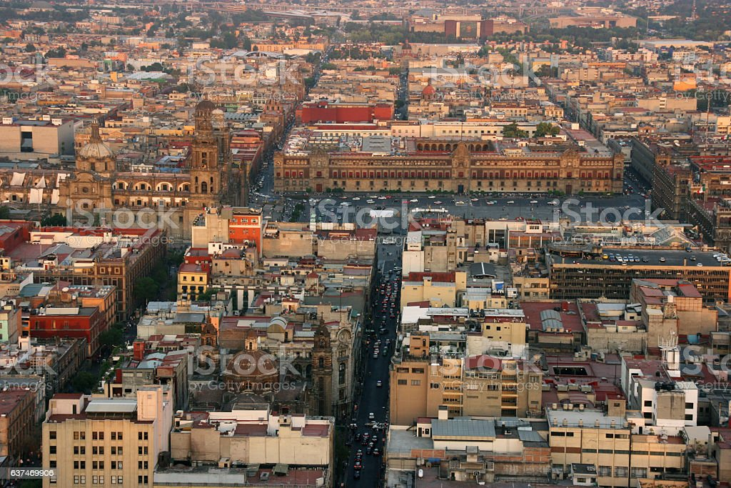 Aerial view of Mexico City, Mexico stock photo