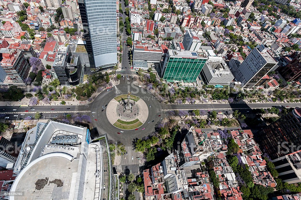 aerial view of Mexico City reforma street stock photo