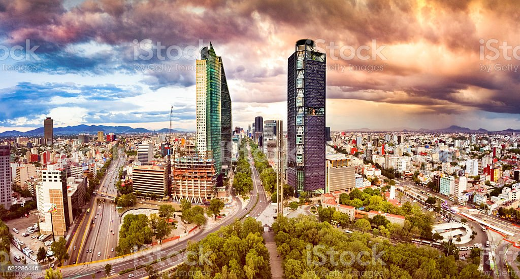 Aerial View of Mexico City skyline from Chapultepec Park stock photo