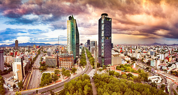 aerial view of mexico city skyline from chapultepec park - mexico stock photos and pictures