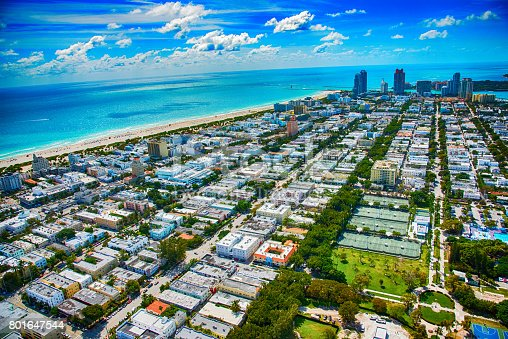 The coastal community of Miami Beach Florida shot from an altitude of about 700 feet during a helicopter photo flight of the area.