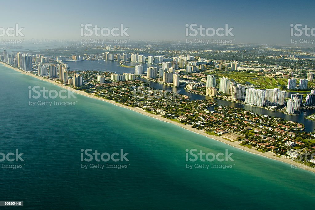 Aerial view of Miami beach royalty-free stock photo