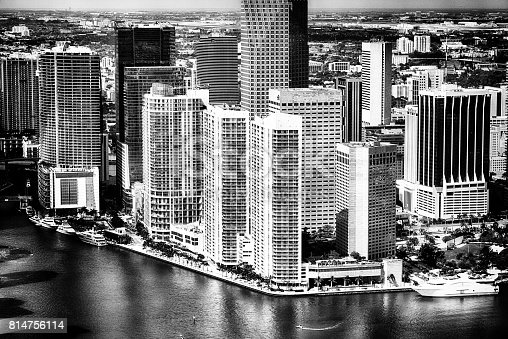 802893644 istock photo Aerial View of Miami Florida in Black and White 814756114