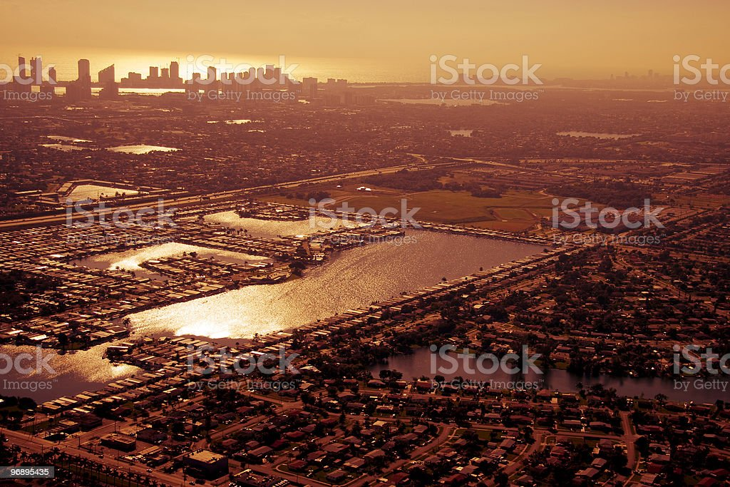 Aerial view of Miami in golden afternoon. royalty-free stock photo